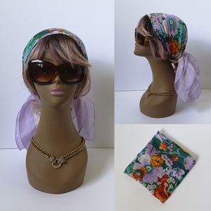 Vintage 100% Silk hand rolled scarf